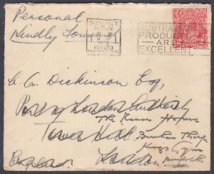 1936 Australia KGV; Sydney Posted Overseas Box/Slogan:London redirect Kings Lynn