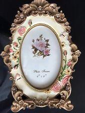 """Adorno Asia Antiguo Pintado A Mano Flores 4"""" x 6"""" Resina Marco Fotos 08,"""