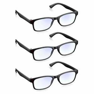 Read Optics Blue Light Reading Glasses Computer Gaming Readers 3 Pack +0.0 -+3.5