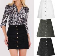 WOMEN New Corduroy A Line Button Front Vintage Cord Short Mini Skirt 8-16 UK