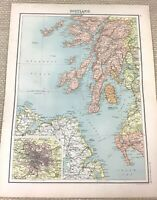 1891 Antik Map Of Schottland Argyll Isle Von Arran jura Islay Alte 19th Century