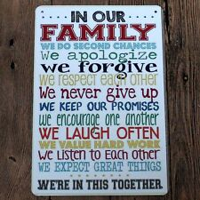 Metal Tin Sign in our family rules Bar Pub Home Vintage Retro Poster Cafe ART