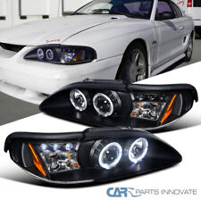 Fit Ford 94-98 Mustang Cobra GT Black LED Halo Projector Headlights Head Lamps