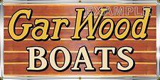GAR WOOD BOATS DEALER MARINE VINTAGE OLD SIGN REMAKE BANNER GARAGE ART 2' X 4'