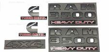 5PCS Black Dodge RAM 3500 Heavy Duty Cummins Turbo Diesel 4X4 Emblem Badge