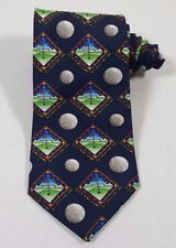 """Ex&CoKerusso """"Golf Is My Game But Jesus Is My Lord"""" Men's Blue USA Made Neck Tie"""