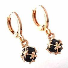 Cute New 14K Rose Gold Filled Black Onyx CZ Cubic (Magic) Ball Dangle Earrings