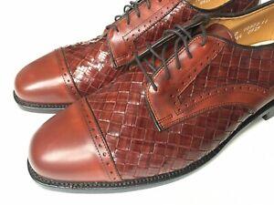 Allen Edmonds CRANDON Chili Woven Leather Cap Toe Vintage Size 11.5 D