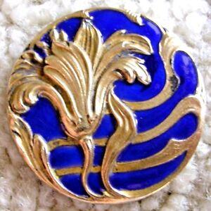 Ex Rare Antique French ART NOUVEAU Blue enamel floral button, ca. 1880s/1890s