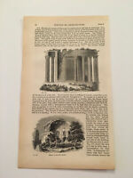 K65) Temple of Vesta Sybil Ancient Rome Italy Architecture 1842 Engraving