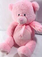 "Cuddle Barn Pink Teddy Bear Musical Lullaby Light up Face 15"" Plush"