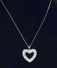 Nouveau Argent Sterling Forme de Cœur avec Pavé Cristal & Bague Collier à Chaîne
