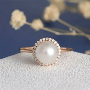 Gorgeous Women White Pearl Rose Gold Filled Rings Wedding Party Ring Size 6-10