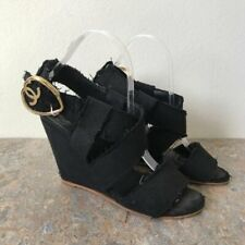 Chanel Black Gold Canvas Wedge Shoes Sz 6 - 7