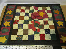 handmade country checkers quilt christmas trees and stars border and game pieces