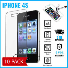 10-PACK Screen Protector Protecteur Real Tempered Glass Film For iPhone 4S