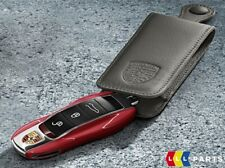 NEW GENUINE PORSCHE CAYENNE MACAN PANAMERA BLACK LEATHER CAR KEY CASE