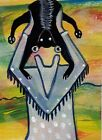 ACEO ORIGINAL Painting~TOPSY TURVY CAT BOUNCE~FIGURATIVE~OUTSIDER FOLK~SMOODY