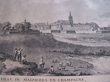 """BELLE GRAVURE """" VUE MAIZIERES EN CHAMPAGNE """" VERS 1890 Signé SAVARD ARDENNES"""