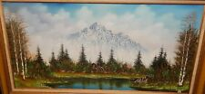 HUGE ORIGINAL OIL ON CANVAS RIVER CANADA MOUNTAIN LANDSCAPE PAINTING