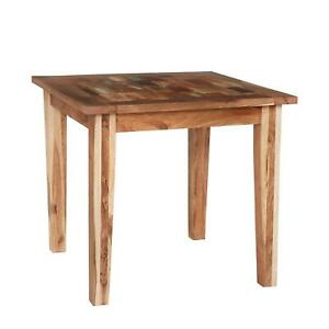 Beverly Small Square Dining Table Reclaimed Multicoloured Rustic Wood Finish