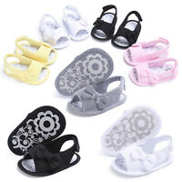 Newborn Baby Infant Girls Bowknot Soft Crib Shoes Sandals Anti-slip Prewalker AU