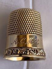 14k Gold Simons Bros. Thimble Size 9 Monogrammed