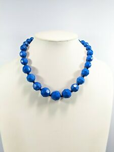Silver Tone Faceted Acrylic Round Bead Blue Black Graduated Necklace 24 Inches