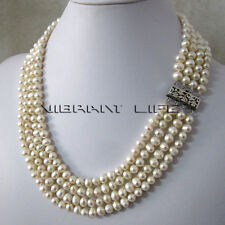 """18-21"""" 5-7mm White 4row Freshwater Pearl Necklace Strand Jewelry UE"""