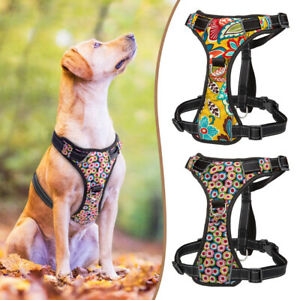 Front Leading Dog Harness Mesh Breathable for Medium To X-Large Dogs Floral