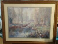Rare Vintage Home Interiors Deer by the Stream Flowers Colors Vibrant Picture