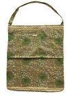 "MATTA NY CottonTote Bag Floral w /Geometric Motif Print Muted Greens 14"" x 16.5"""