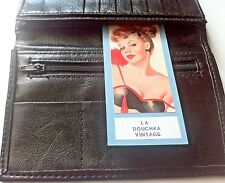 VINTAGE 1960s MEN BIFOLD WALLET~ BLACK FAUX / FAKE LEATHER ~MADE IN ENGLAND~ NEW
