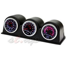 "2"" Inch Turbo Boost+Rpm+Vacuum+3X Port Triple Pod Holder Led Gauge Smoke Tint"