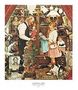 "Norman Rockwell print ""CURIOSITY SHOP"" 11x15"" April Fools' Day Hidden Objects"