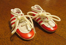 PLAYHOUSE Doll Shoes 45mm SPORTY TENNIS RED & WHITE STRIPED LACE UP - JS40