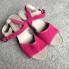 Hush Puppies Pink Leather Sandals with Wedge Heels UK5