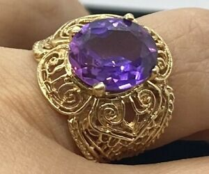 14K Yellow Gold Amethyst Open Work  Ring - Size 5.5 -  5.8 g   3.7 DWT