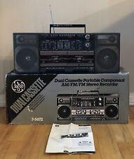 Vintage GE AM/FM Dual Cassette Portable AM/FM/FM Stereo Recorder Boombox 3-5672
