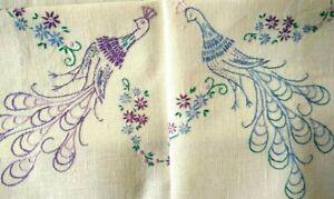 Wonderful Stylised Peacocks  Vintage Hand embroidered Tablecloth