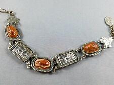 Vintage Silver Tone Egyptian Revival Scarab Storyteller Souvenir Bracelet