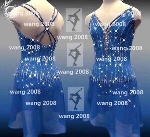 ice figure skating competition dress Gymnastics costum dance Dress blue