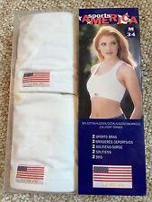 NIB Lot of 2 Sprorts America USA Sports Bra sz M/L 34 White USA Logo