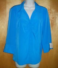 NWT NEW womens ladies size PL blue COVINGTON gathered front fitted blouse shirt