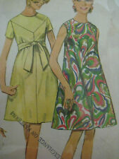 Vintage Simplicity 7436 V-YOKE COLLARLESS TENT DRESS Sewing Pattern Women Sz 12