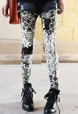 Women's Skinny Black White Floral Print Leggings Stretchy Jeggings