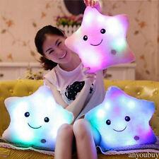 LED STAR PILLOW Light Up Cushion Sofa Bed Bedroom Plush Night Glow Kids TXH0