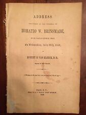RARE 1852 Funeral Address Horatio Brinsmade, St. Paul's Church, TROY, New York