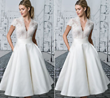 Women V-neck Lace Casual Wedding Ball Gown Vintage A-line Slim Sexy Bride Dress