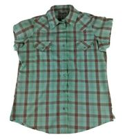 Wrangler Women's Pearl Snap Shirt Western  S/S Plaid Button Front Green Small